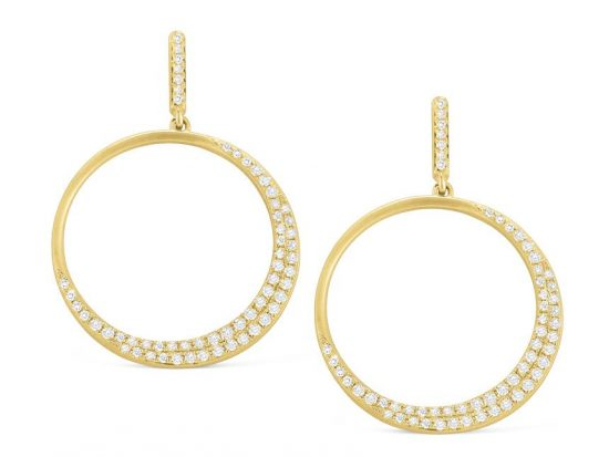 KC DESIGNS - 14K Gold and Diamond Circle Earrings