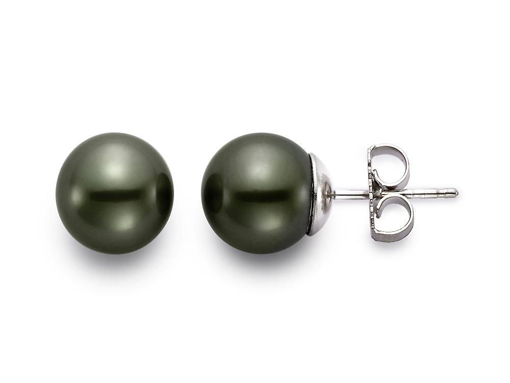 MASTOLONI - 18K White Gold 9-9.5MM Black Round Tahitian Pearl Earring