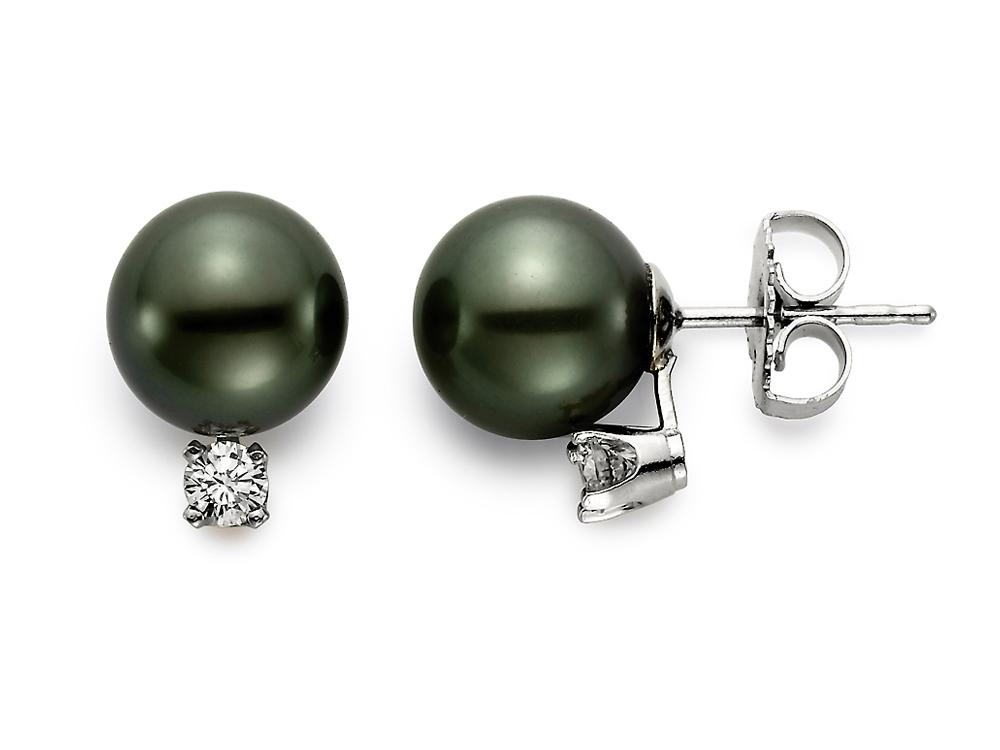 MASTOLONI - 18K White Gold 9-9.5MM Black Round Tahitian Pearl Earring with 2 Diamonds 0.25 TCW