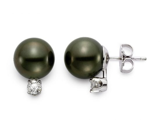 MASTOLONI - 18K White Gold 11-11.5MM Black Round Tahitian Pearl Earring with 2 Diamonds 0.40 TCW