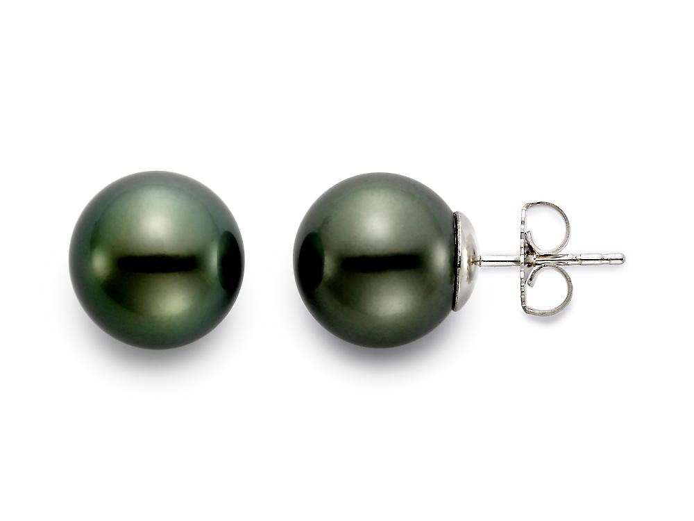 MASTOLONI - 14K White Gold 11-11.5MM Black Round Tahitian Pearl Earring