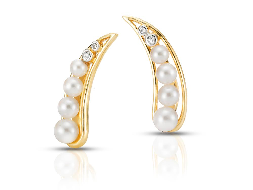 MASTOLONI - 18K Yellow Gold 3-5MM White Round Cultured Pearl Earring with 4 Diamonds 0.032 TCW