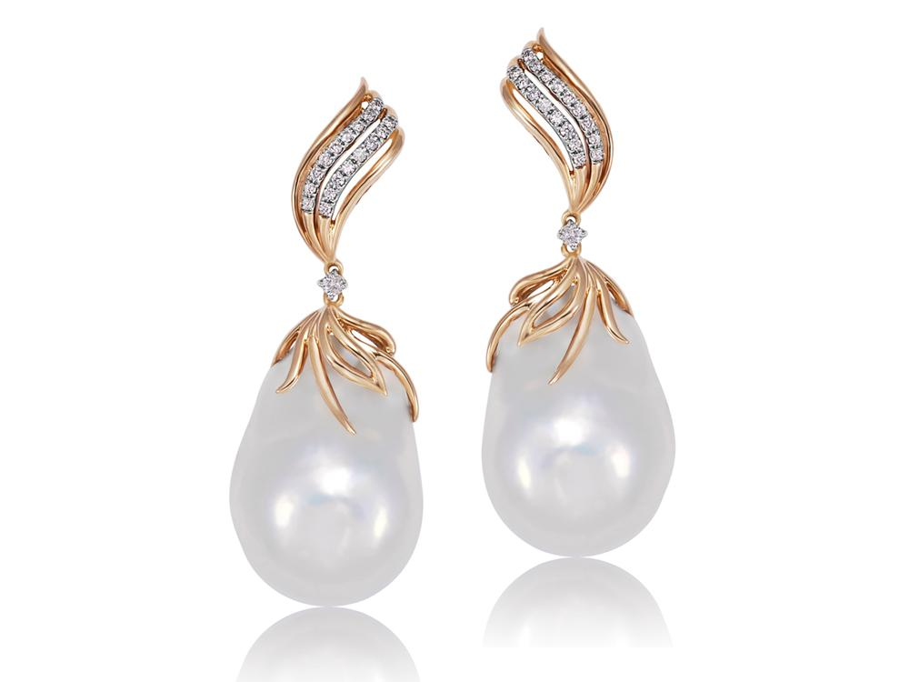 MASTOLONI - 18K Yellow Gold 17-20MM White Baroque Freshwater Pearl Clip/Lever Back Earring with 36 Diamonds 0.27 TCW