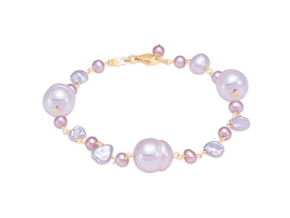MASTOLONI - 14K Yellow Gold 3.5-9MM Multicolor Pink & White Keshi Freshwater Pearl Bracelet 8 Inches