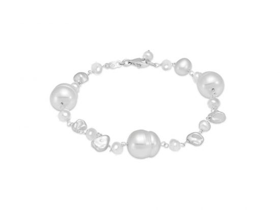 MASTOLONI - 14K White Gold 3.5-9MM White Keshi Freshwater Pearl Bracelet 8 Inches