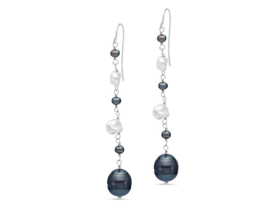 MASTOLONI - 14K White Gold 3.5-9MM Multicolor Black & White Keshi Freshwater Pearl Shepherd Hook Earring