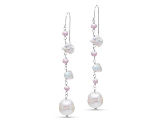 MASTOLONI - 14K White Gold 3.5-9MM Multicolor Pink & White Keshi Freshwater Pearl Shepherd Hook Earring