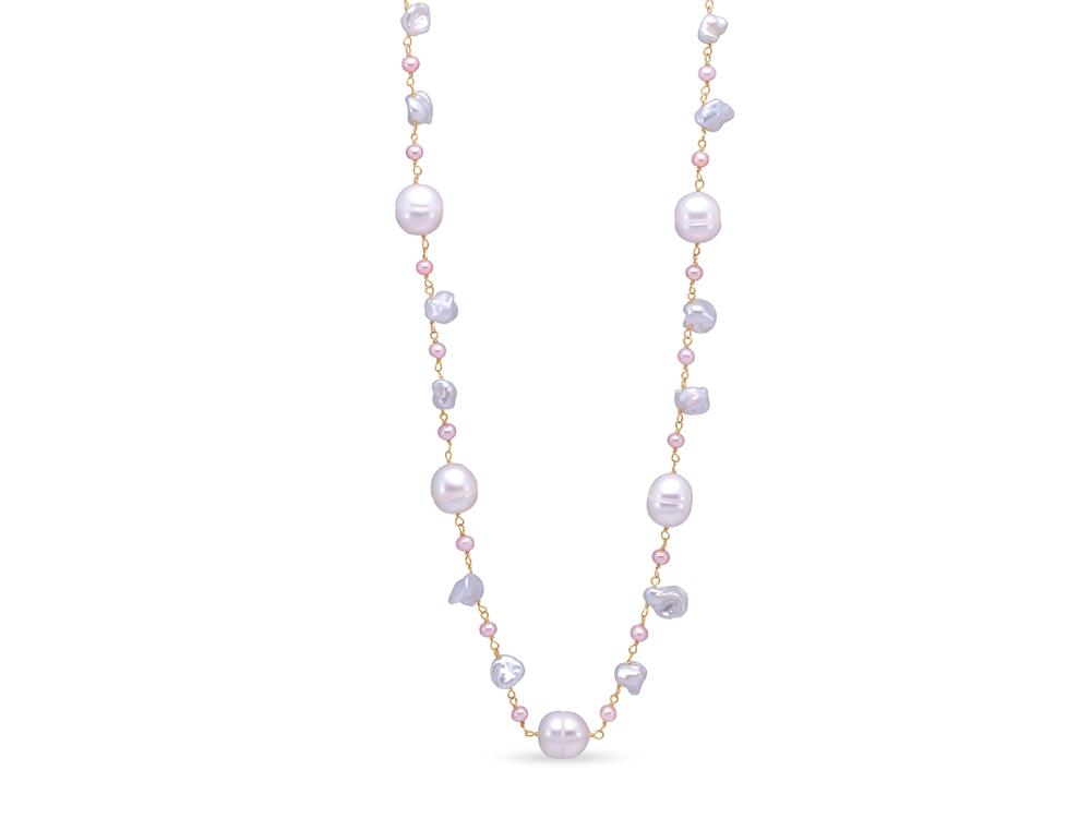 MASTOLONI - 14K Yellow Gold 3.5-9MM Multicolor Pink & White Keshi Freshwater Pearl Necklace 18 Inches