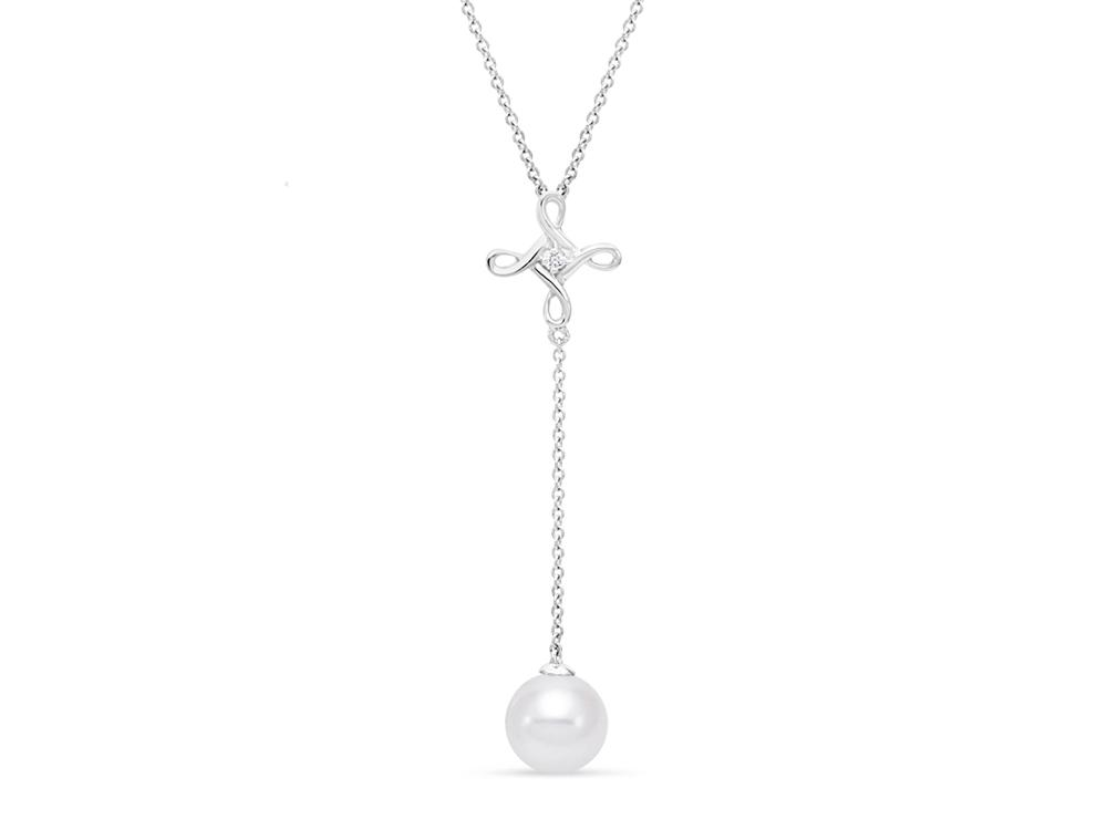 MASTOLONI - 14K White Gold 8.5-9MM White Round Freshwater Pearl Necklace with 1 Diamond 0.02 TCW 17 Inches