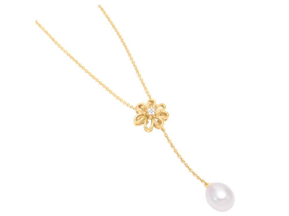 MASTOLONI - 14K Yellow Gold 7.5-8MM White Rice Shaped Freshwater Pearl Necklace with 4 Diamonds 0.02 TCW 17 Inches