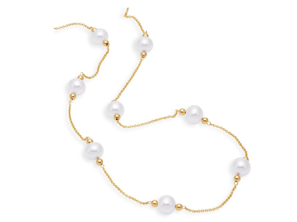 MASTOLONI - 14K Yellow Gold 7-8MM White Near Round Freshwater Pearl Necklace 18 Inches