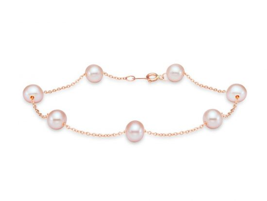 MASTOLONI - 14K Rose Gold 5.5-6MM Pink Round Freshwater Pearl Bracelet 7.5 Inches