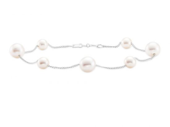 MASTOLONI - 14K White Gold 5.5-7.5MM White Round Freshwater Pearl Bracelet 7.5 Inches