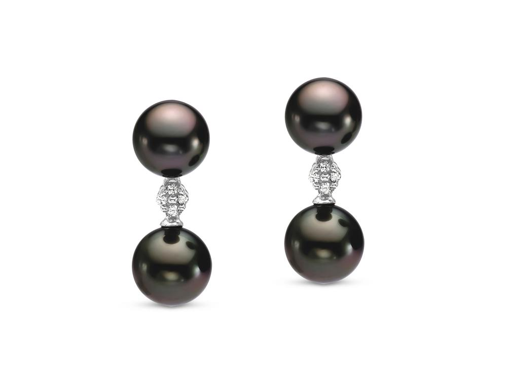 MASTOLONI - 14K White Gold 8-9MM Black Round Tahitian Pearl Earring with 8 Diamonds 0.08 TCW