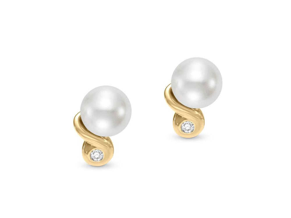 MASTOLONI - 14K Yellow Gold 6.5-7MM White Round Freshwater Pearl Earring with 2 Diamonds 0.04 TCW