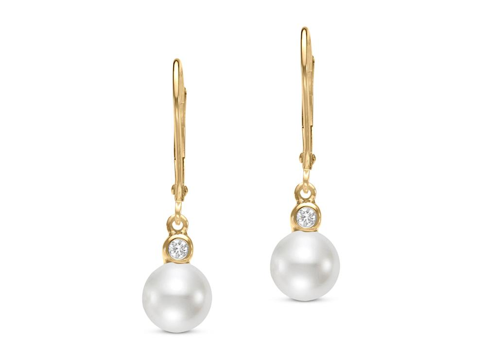 MASTOLONI - 14K Yellow Gold 7-7.5MM White Round Freshwater Pearl Shepherd Hook Earring with 2 Diamonds 0.06 TCW