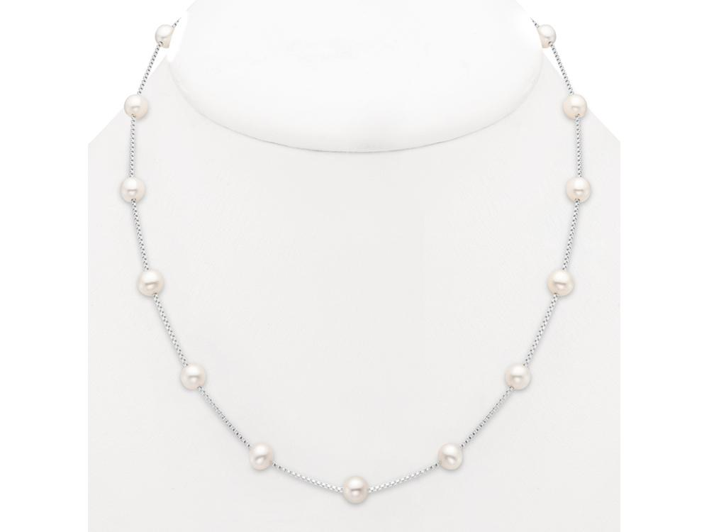 MASTOLONI - 14K White Gold 5.5-6MM White Round Freshwater Pearl Necklace 17 Inches