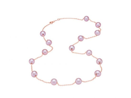 MASTOLONI - 14K Rose Gold 5.5-6MM Pink Round Freshwater Pearl Necklace 17 Inches