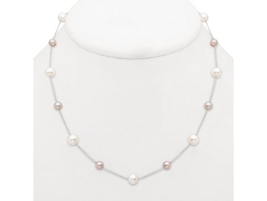 MASTOLONI - 14K White Gold 5.5-7.5MM White Near Round Freshwater Pearl Necklace 17 Inches