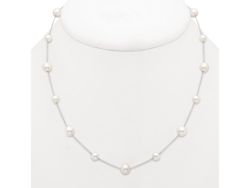 MASTOLONI - 14K White Gold 5.5-7.5MM White Round Freshwater Pearl Necklace 17 Inches