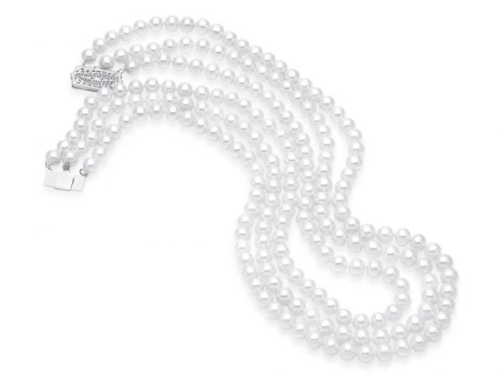 MASTOLONI - 14K White Gold 6-6.5MM White Round Freshwater Pearl Necklace 19 Inches