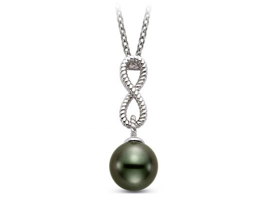 MASTOLONI - 14K White Gold 8-9MM Black Round Tahitian Pearl Pendant 18 Inches
