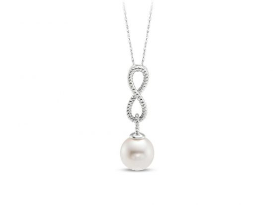 MASTOLONI - 14K White Gold 8-8.5MM White Round Freshwater Pearl Pendant 18 Inches