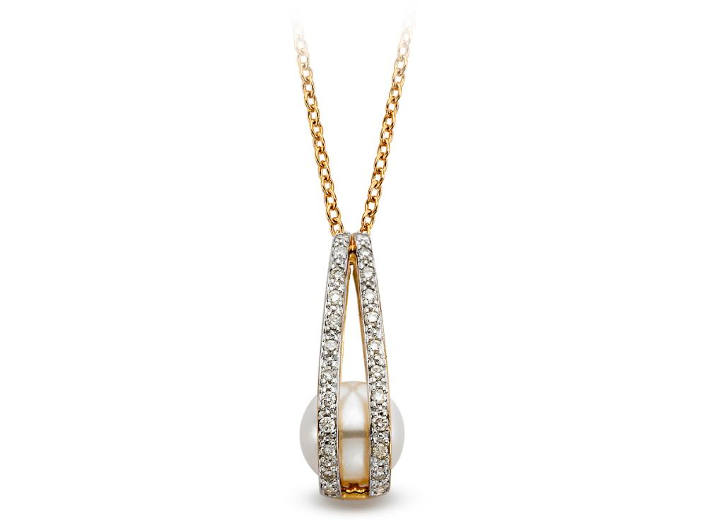 MASTOLONI - 14K Yellow Gold 7.5-8MM White Round Freshwater Pearl Pendant with 24 Diamonds 0.14 TCW 18 Inches