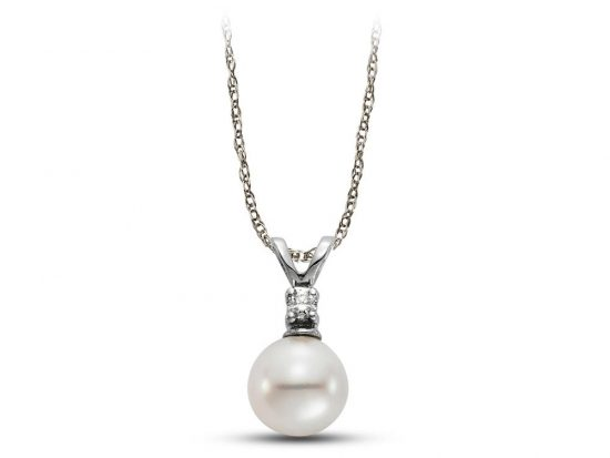 MASTOLONI - 14K White Gold 6-6.5MM White Round Freshwater Pearl Pendant with 1 Diamond 0.03 TCW 18 Inches