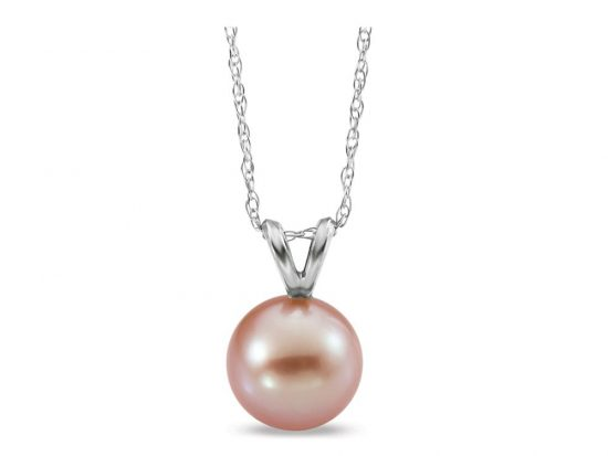 MASTOLONI - 14K White Gold 6-6.5MM Pink Round Freshwater Pearl Pendant 18 Inches