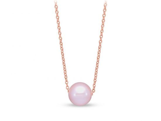 MASTOLONI - 14K Rose Gold 7.5-8MM Pink Round Freshwater Pearl Pendant 17 Inches