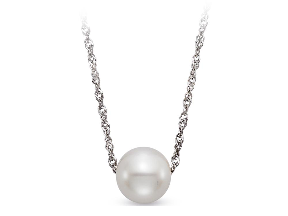 MASTOLONI - 14K White Gold 7.5-8MM White Round Freshwater Pearl Pendant 18 Inches