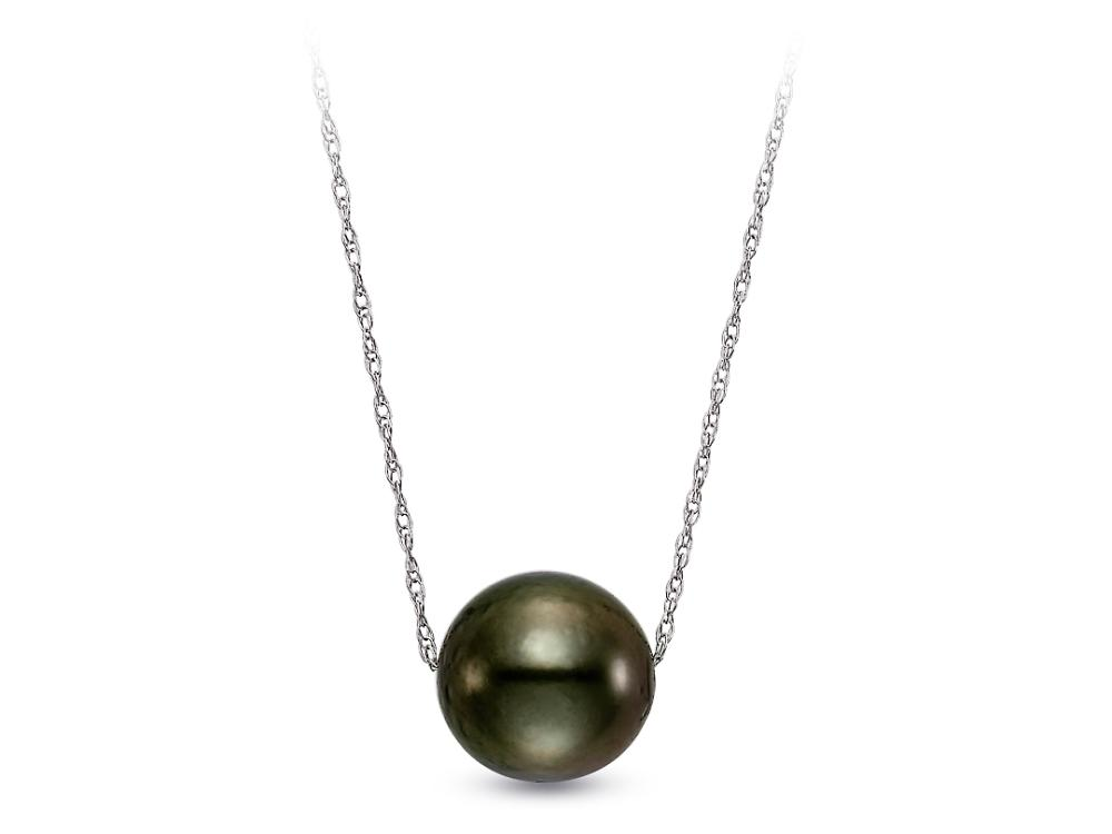 MASTOLONI - 14K White Gold 8-8.5MM Black Round Tahitian Pearl Pendant 18 Inches