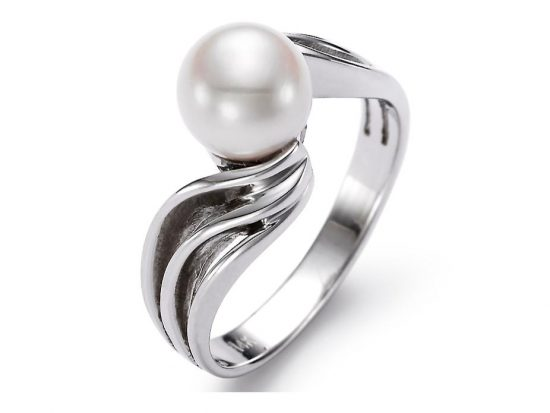 MASTOLONI - 14K White Gold 7-7.5MM White Round Freshwater Pearl Ring
