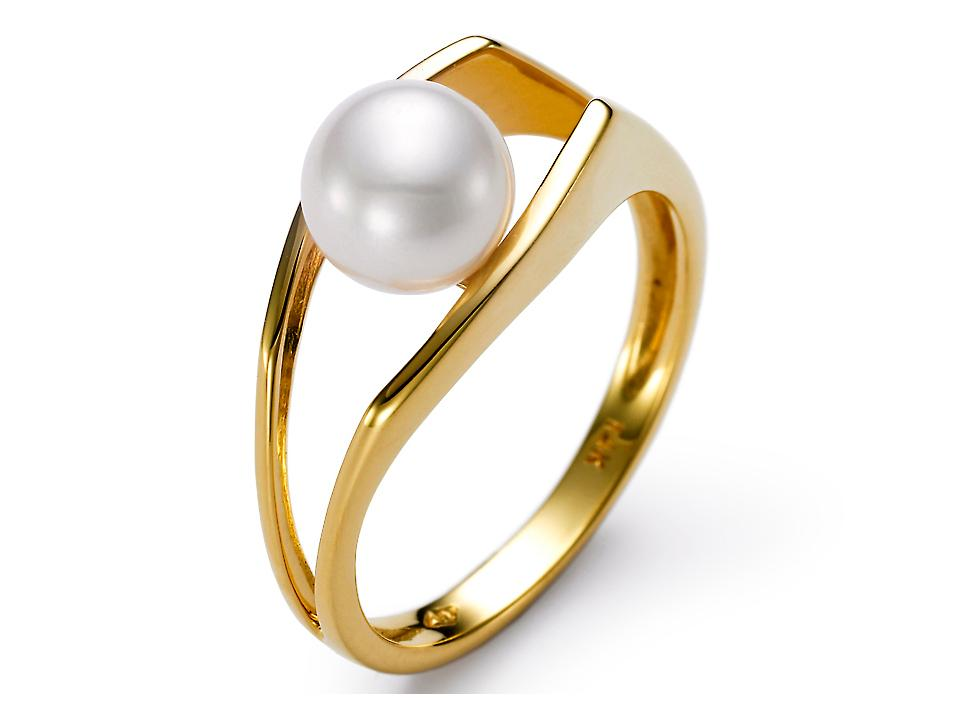 MASTOLONI - 14K Yellow Gold 6.5-7MM White Round Freshwater Pearl Ring