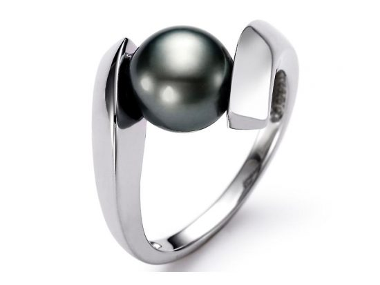 MASTOLONI - 14K White Gold 8-9MM Black Round Tahitian Pearl Ring