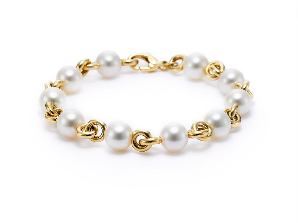 MASTOLONI - 18K Yellow Gold 7.5-9MM White Round Cultured Pearl Bracelet 8 Inches