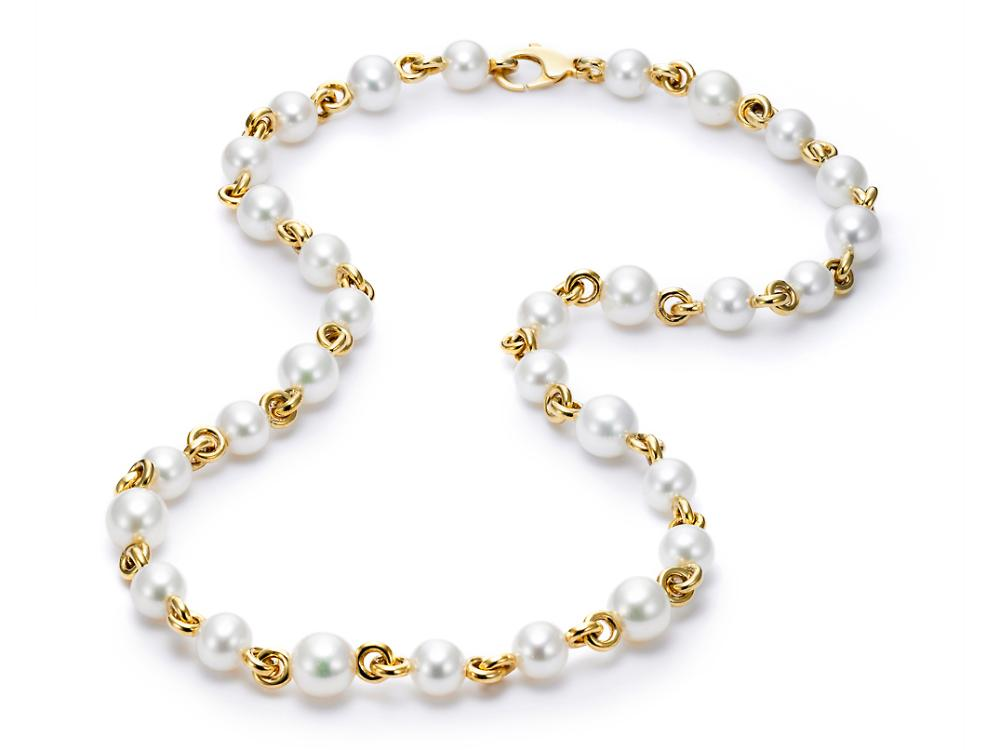 MASTOLONI - 18K Yellow Gold 7.5-9MM White Round Cultured Pearl Necklace 24 Inches