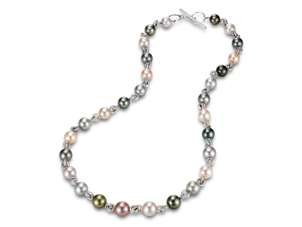 MASTOLONI - 18K White Gold 8-10MM Multicolored Black Round Tahitian Pearl Necklace with 728 Diamonds 3.76 TCW 18 Inches