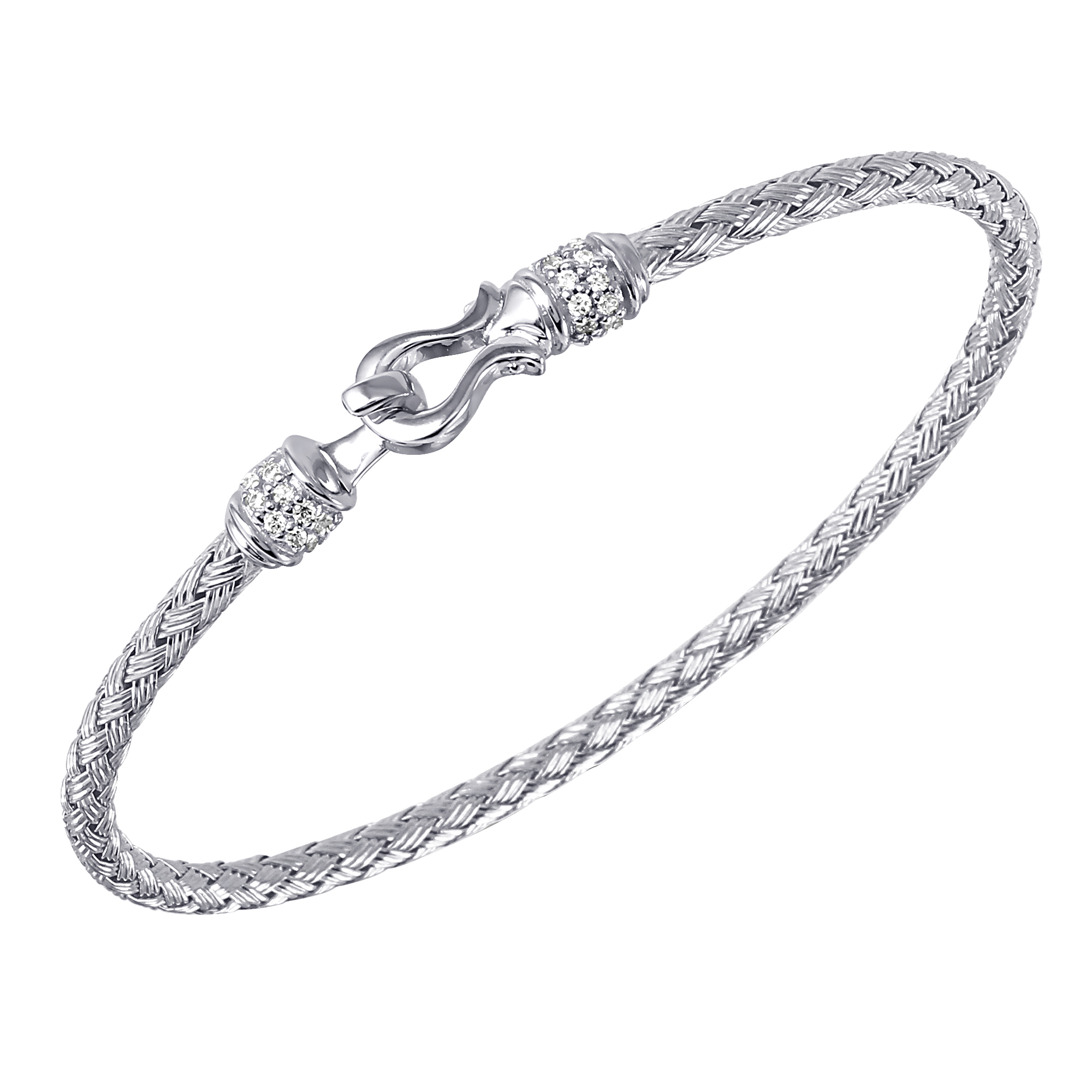 CHARLES GARNIER - Sterling Silver and CZ Harp Cuff Bangle