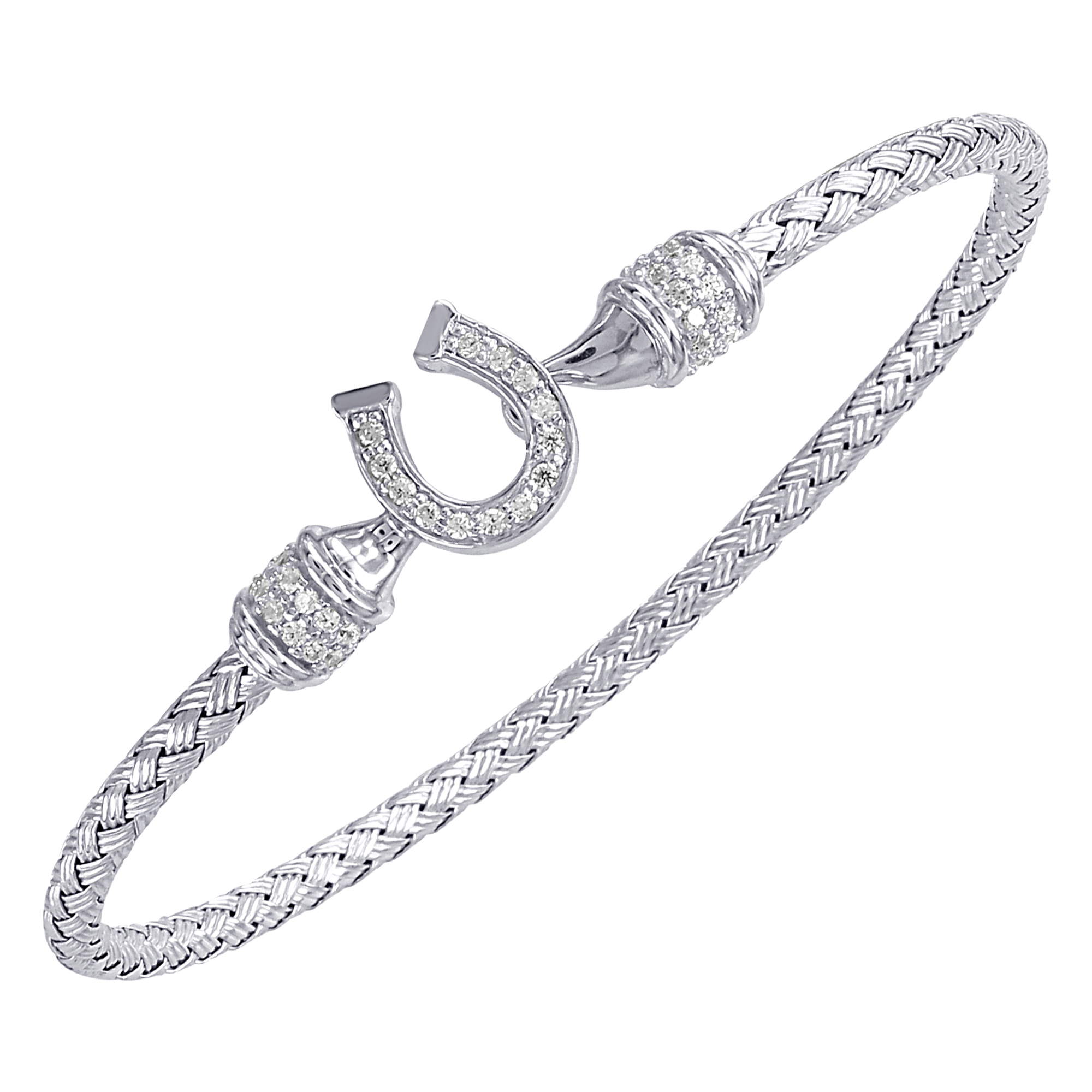 CHARLES GARNIER - Sterling Silver and CZ Horse Shoe Cuff Bangle