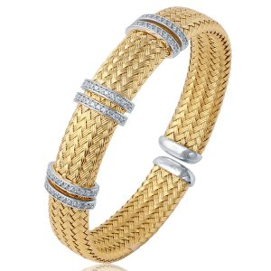 CHARLES GARNIER - Sterling Silver and CZ Bar Cuff Bangle