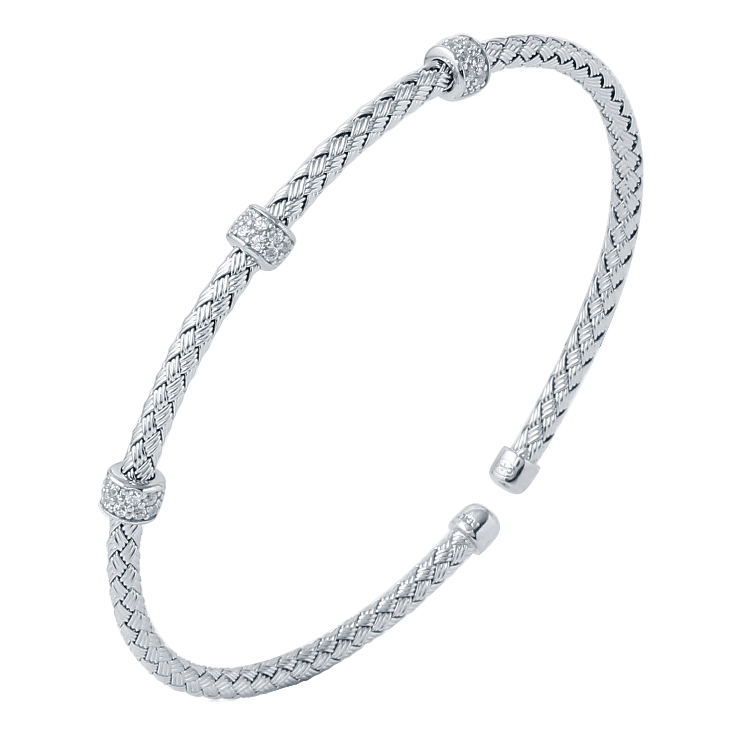 CHARLES GARNIER - Sterling Silver and CZ Roundel Cuff Bangle