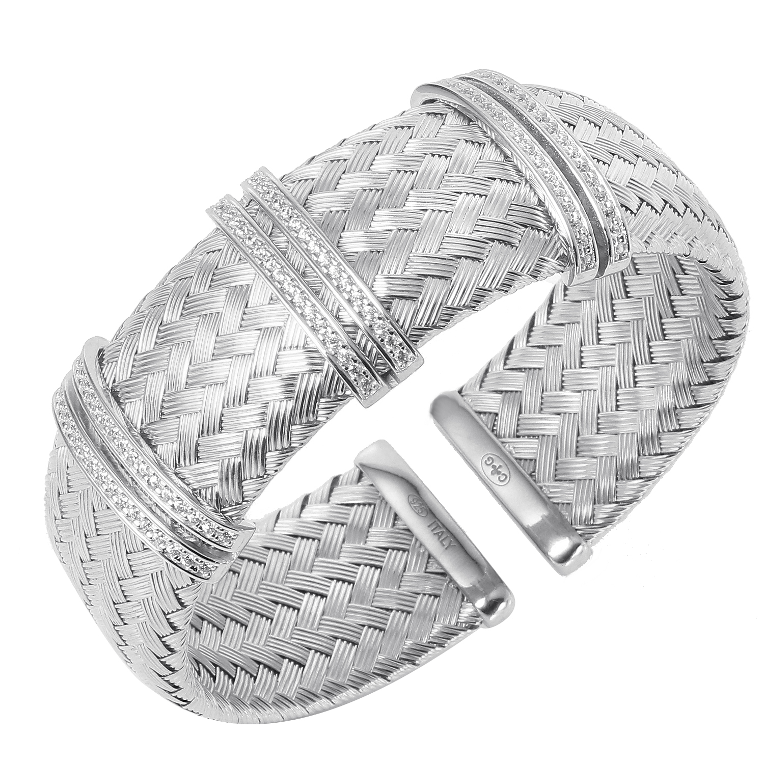 CHARLES GARNIER - Sterling Silver and CZ Cuff Bar Bangle