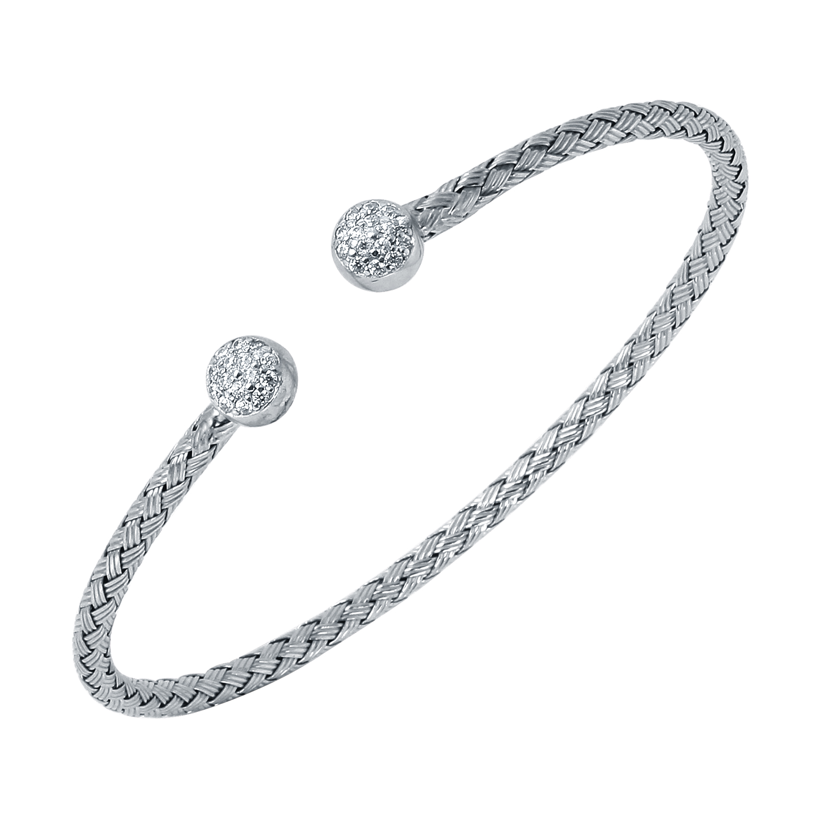 CHARLES GARNIER - Sterling Silver and CZ Cap Cuff Bangle