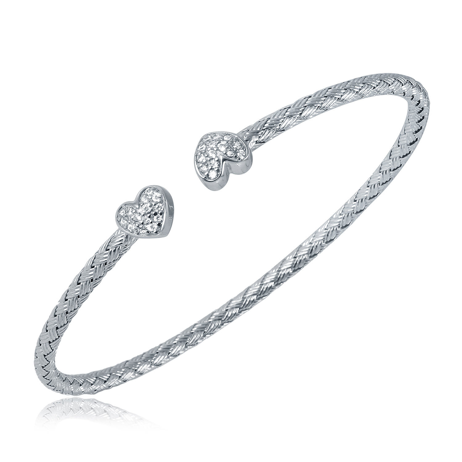 CHARLES GARNIER - Sterling Silver and CZ Heart Cap Cuff Bangle