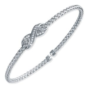 "CHARLES GARNIER - Sterling Silver and CZ ""X"" Station Cuff Bangle"