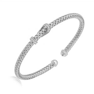 CHARLES GARNIER - Sterling Silver and CZ Buckle Cuff Bangle