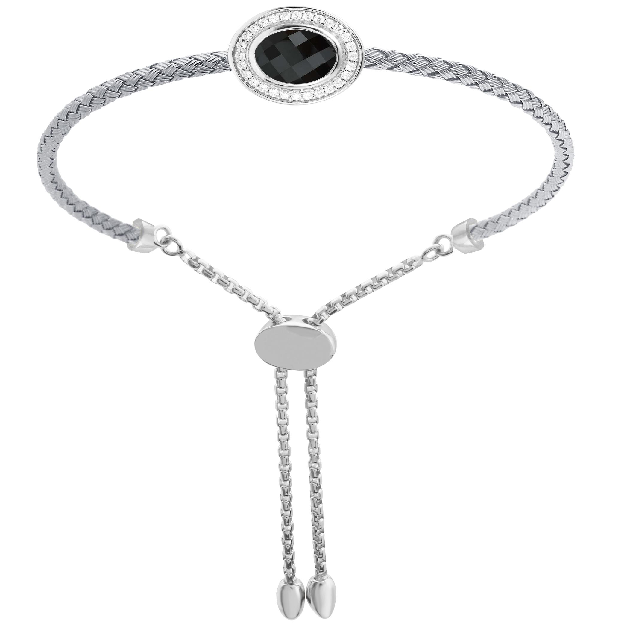 CHARLES GARNIER - Sterling Silver Onyx and CZ Bracelet