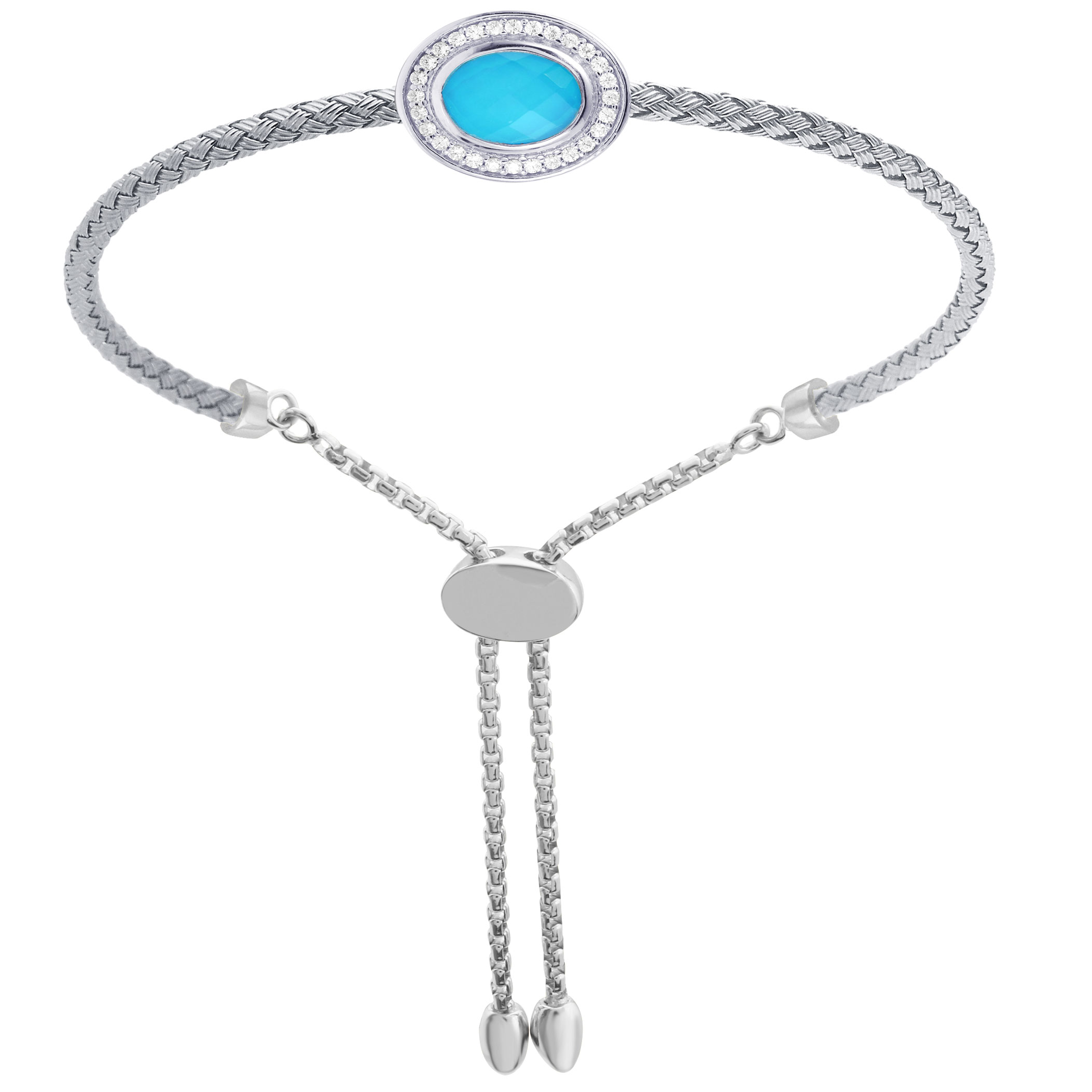 CHARLES GARNIER - Sterling Silver, Turquoise and CZ Bracelet